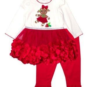 NANNETTE 12M 18M 2 PC GINGERBREAD GIRL DRESS SET